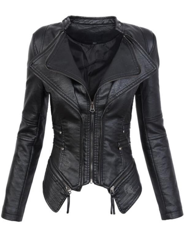 2018 new PU   leather   autumn and winter women's   leather   jacket