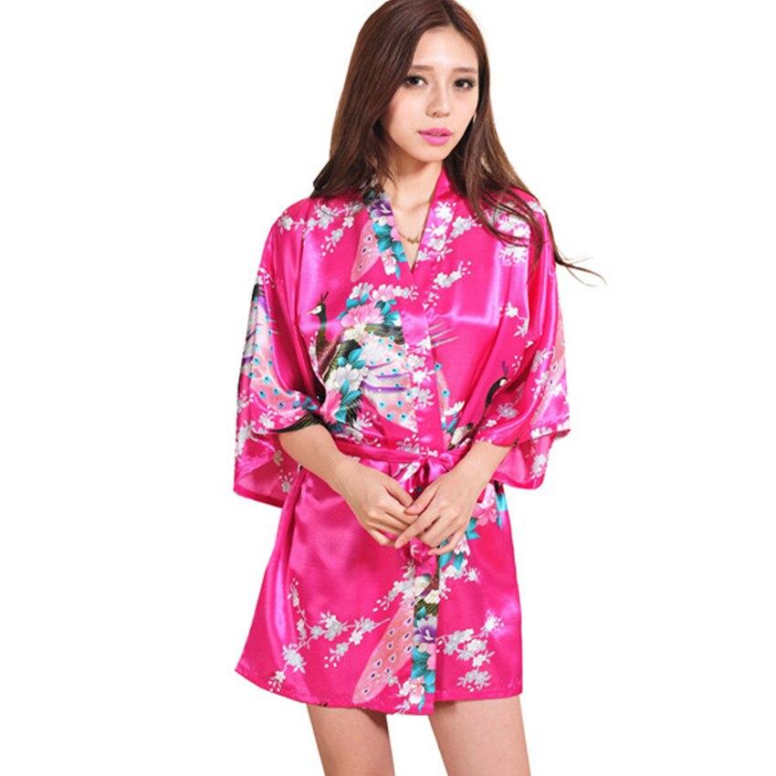 Cielo azul del verano señora Faux seda kimono Bañeras vestido sexy ...