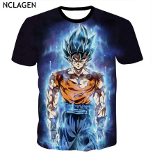 NCLAGEN Men 3D Clothes Short Sleeve Loose Top Tees Dragonball Super Ultra Instinct Super Vegito Son Goku Z Fighter Print T-Shirt