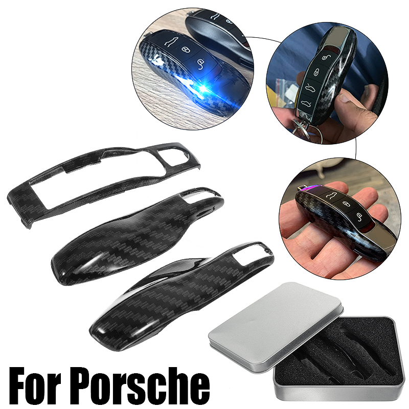3pcs Carbon Fiber Color FOB Remote Key Case Shell Cover for Porsche Boxster Cayman 911 Panamera Cayenne Macan