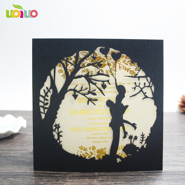 Cheap price china wedding invitation card laser cut bride groon