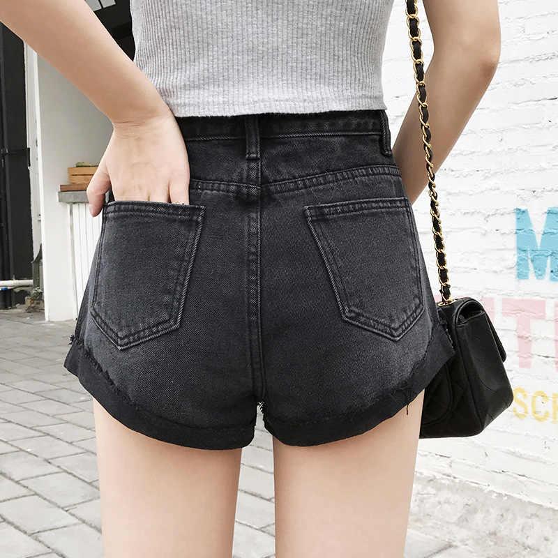 Marki nowych kobiet wysokiej talii szerokie nogawki jeansowe szrot zgrywanie letnie dżinsy krótkie biały/czarny/niebieski kobiet seksowny kowboj krótki D328