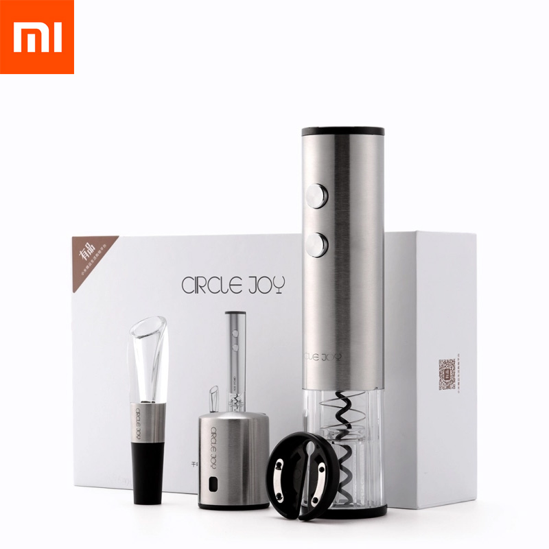 Oringnal Xiaomi Mijia Circle Joy Electric Bottle Opener Stainless Steel Electric Corkscrew Foil Cutter Base Cork