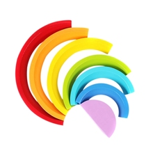 7Pcs/Lot Colorful Wood Rainbow Building Blocks Toys Wooden Circle Set Baby Colour Sort Play Game Toy