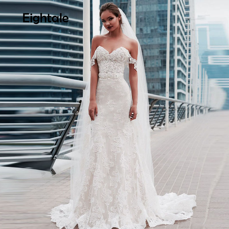Eightale Mermaid Wedding Dresses Beach Sweetheart Appliques Lace Boho Wedding Gowns Princess Bride Dress Vestido De Noivas 2019