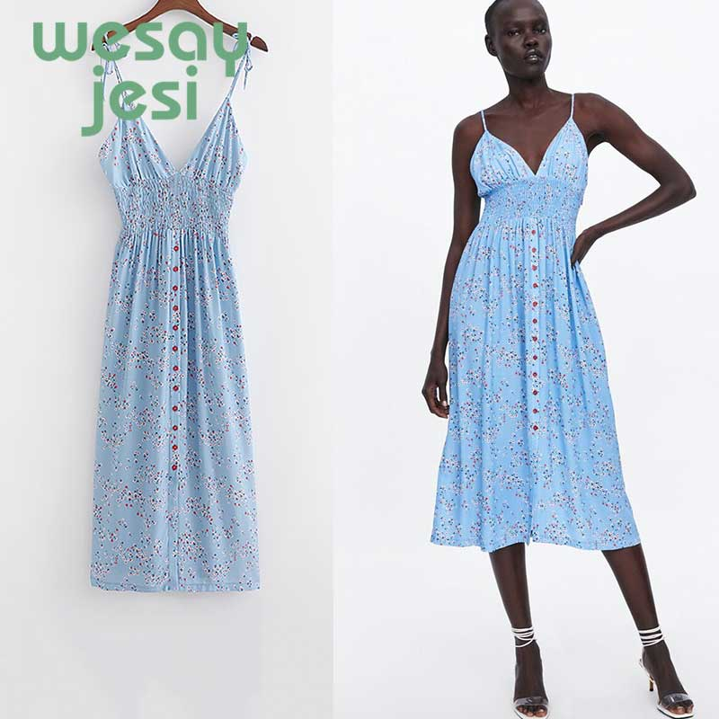 Blue Summer Dress Women Strappy  Floral Elastic Waist Beach Dresses 2019 beach dresses