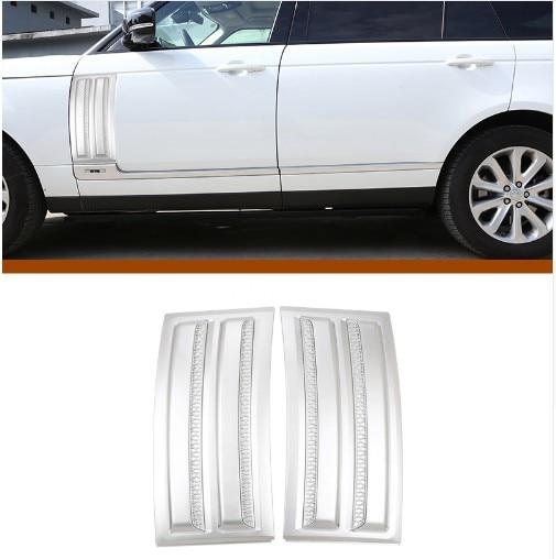 For Land Rover Range Rover Vogue SVO 2014-2018 ABS Matte Chrome Car Side Door Air Vents Kit Trim Accessories 2pcs silver black side fender sticker for land rover range rover evoque 2011 2016 abs chrome car accessories