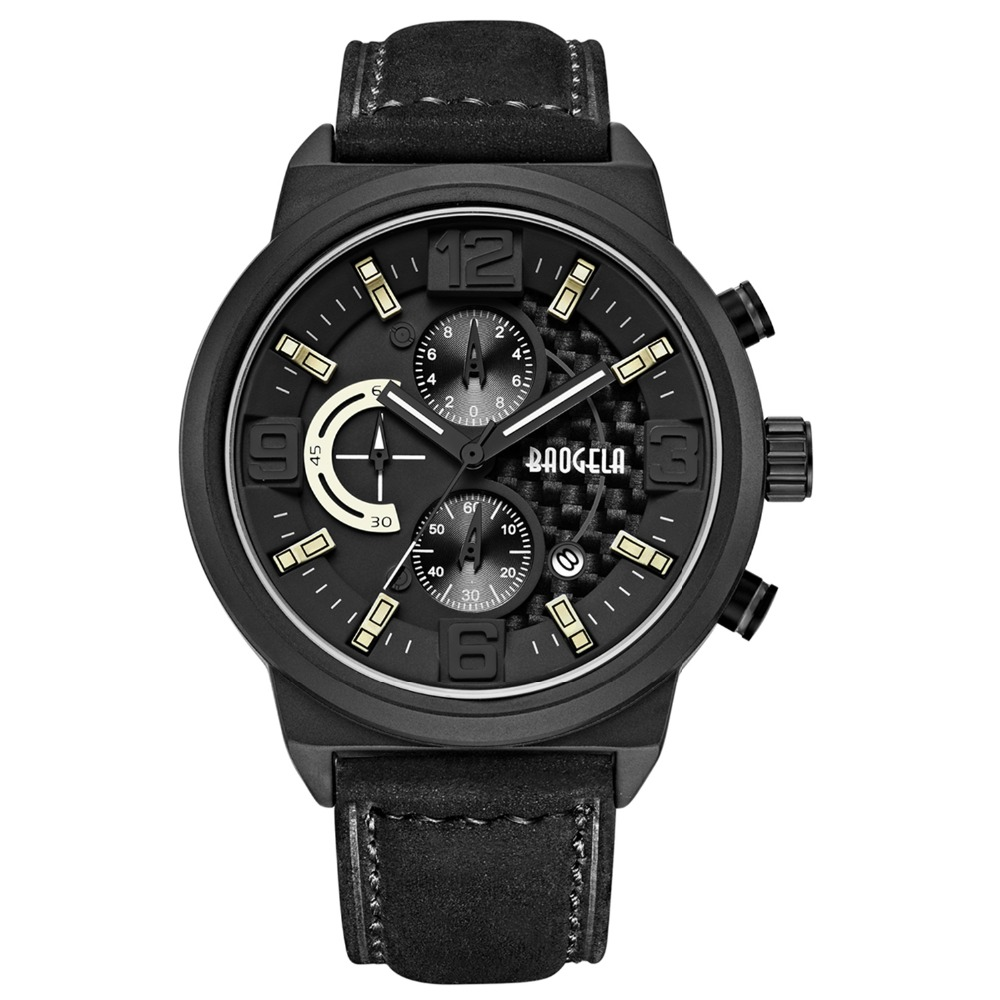 Mens Chronograph Watch Waterproof Large Dial Quartz Watches Leather Band Dial With Calendar Date Male Wristwatch Noctilucan