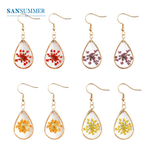 SANSUMMER Small Fresh Earrings Womens Handmade Dried Flowers Drop-Shaped Fashion Exquisite Female 3360