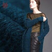 Italian style luxury dark blue knitted wool fabric for winter coat fluffy woolen tissue cloth tela tecidos SP4839 FREE SHIPPING