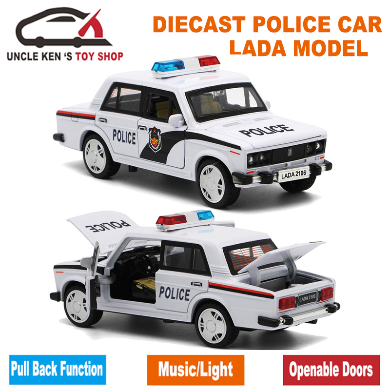 15cm Length Russian LADA Diecast Model, Metal Patrol Car, Kid Alloy Toys With Gift Box/Openable Door/Pull Back Function/Music