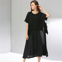European and American loose style Long Dress Women Vestidos Summer Fashion stitching cotton and linen dress Women's Dresses