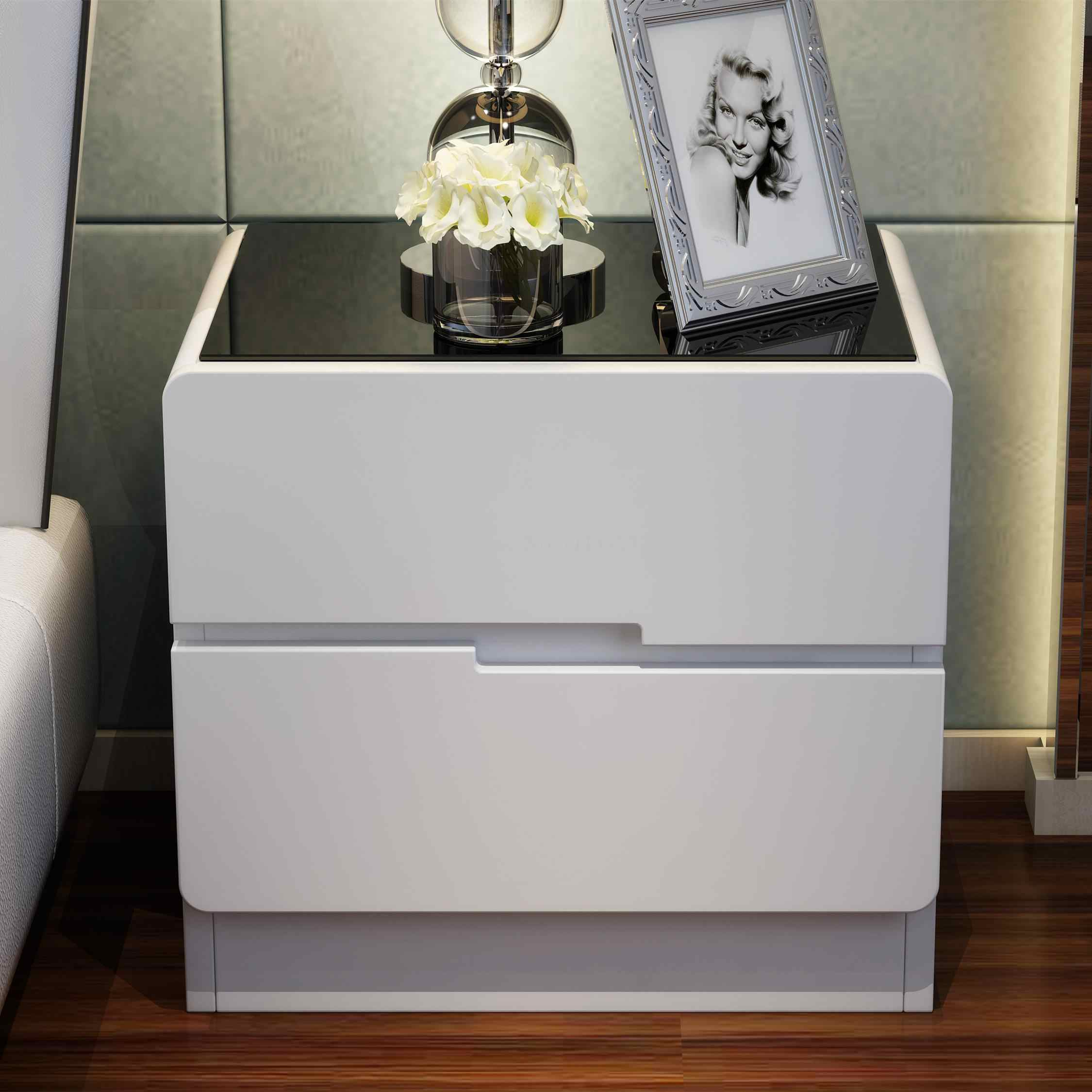 Glass Painted Bedside Table Simple Modern Locker Bedroom Bedside Cabinet White Storage