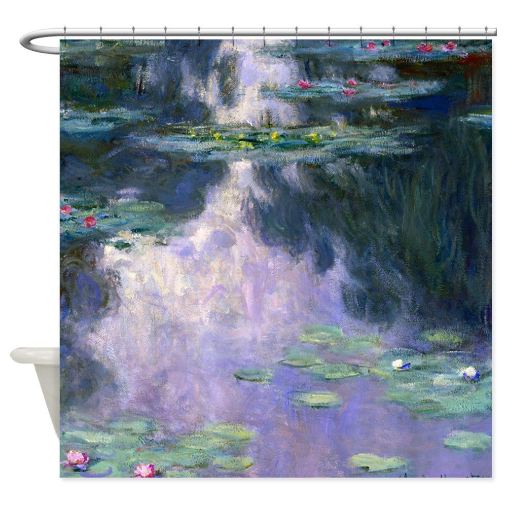 Monet Nympheas 1907 Decorative Fabric Shower Curtain For Bathroom Waterproof Polyester Shower Curtain