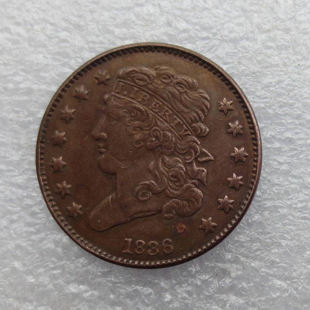 1836 CLASSIC HEAD HALF CENTS Copper Copy Coin Wholesale High Quality Holiday Gifts