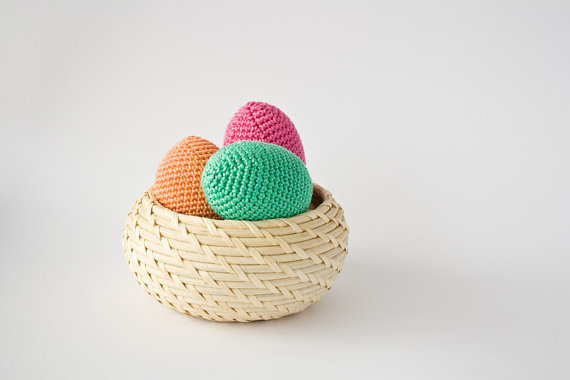 Crochet Easter Egg (3 Pcs)  Rattle  Pastel - Easter Decoration, Waldorf, Montessori, Nature Table