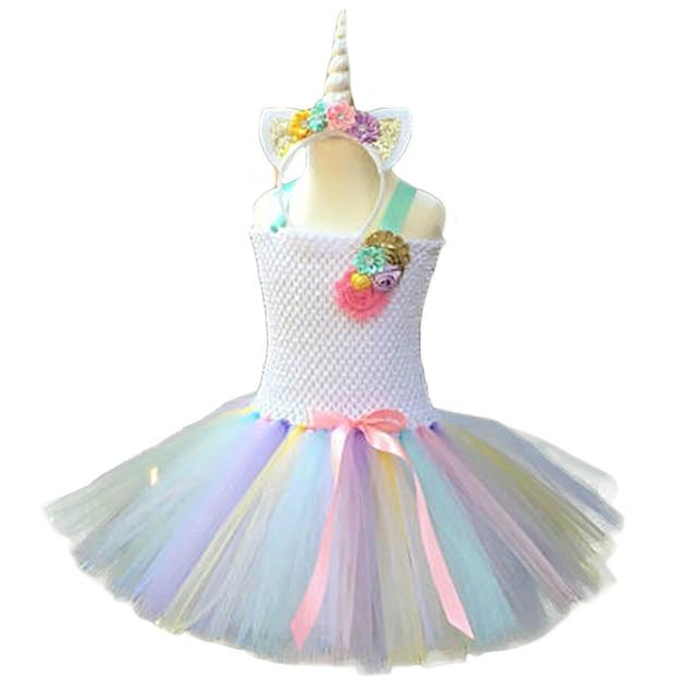 86475f055c63c US $28.89 |POSH DREAM Unicorn Kids Girl Costume Girls Halloween Costume  Pink Gold Aqua Lavender Yellow Unicorn Baby Girl Flower Tutu Dress-in  Dresses ...