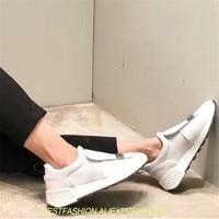Модные кроссовки женская повседневная обувь черный, белый цвет обувь Женская обувь tenis feminino zapatos mujer на платформе Скрытая каблуки обуви Для ж