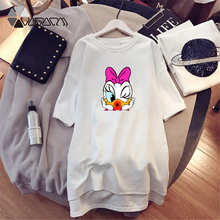 Summer Women Clothes Dresses Daisy Donald Duck Cartoon Print Loose Female Plus Size Mini De Dress Casual Fashion Short Sleeve цены
