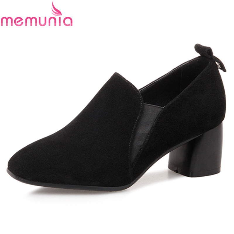 MEMUNIA spring autumn fashion genuine leather women pumps high quality thick high heels square toe black dress shoes memunia spring autumn popular genuine