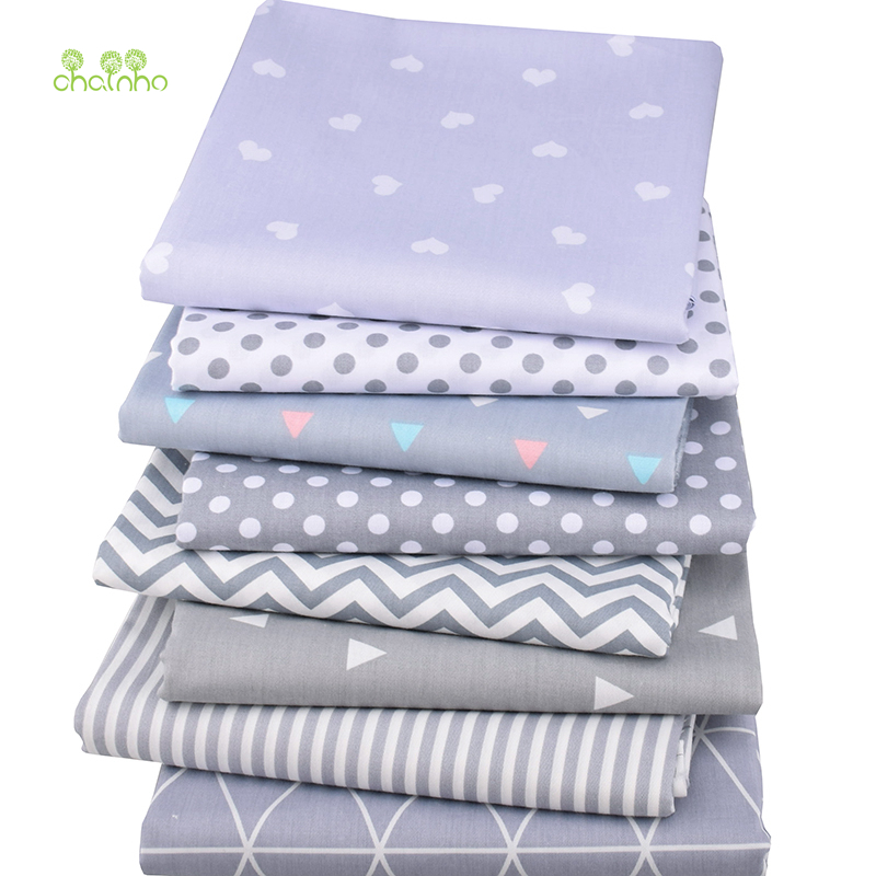 Chainho,8pcs/lot,Gray Geometric Series,Printed Twill Cotton Fabric,Patchwork Cloth For DIY Sewing Quilting Baby&Child Material
