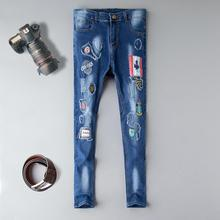 Straight cotton jeans men ripped distressed hole 2019 new brand denim trousers patchwork printed homme jeans plus size 29-38 european and american style slim straight jeans new brand colorful cloth stitching hole water wash denim trousers size 29 38