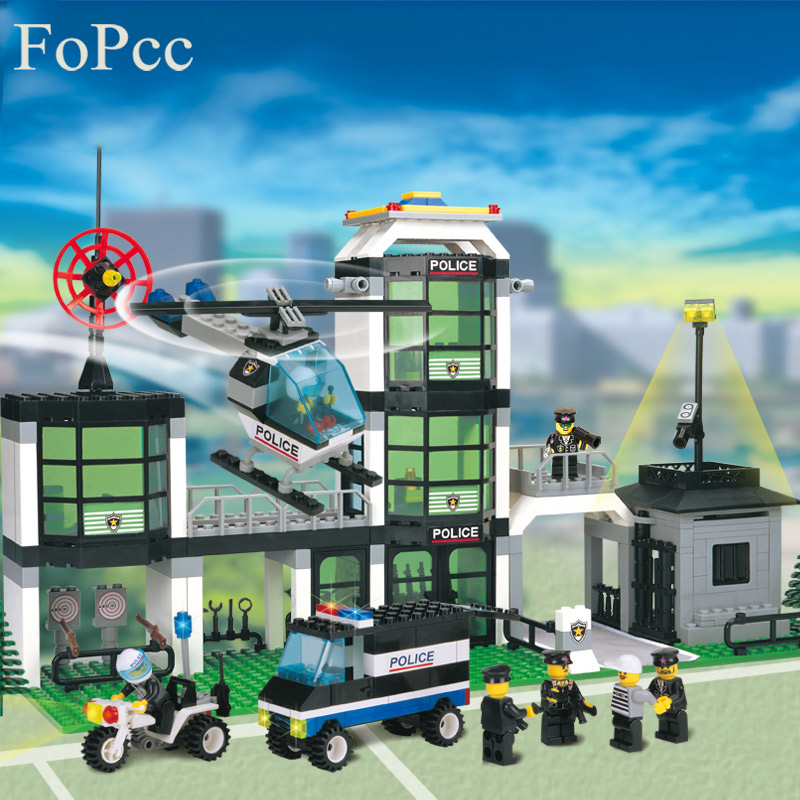 City Police Station Building Blocks 3D Model Building Blocks 466PCs Playmobil Blocks Brinquedos Toys For Children Legoings