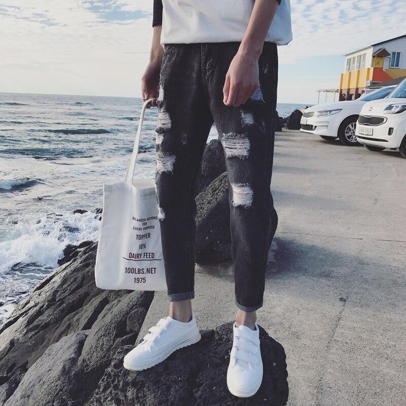 Новинка 2017 года синий/черный рваные байкерские Джинсы для женщин отверстие джинсовые супер узкие известный дизайнер марки Slim Fit Повседневн...