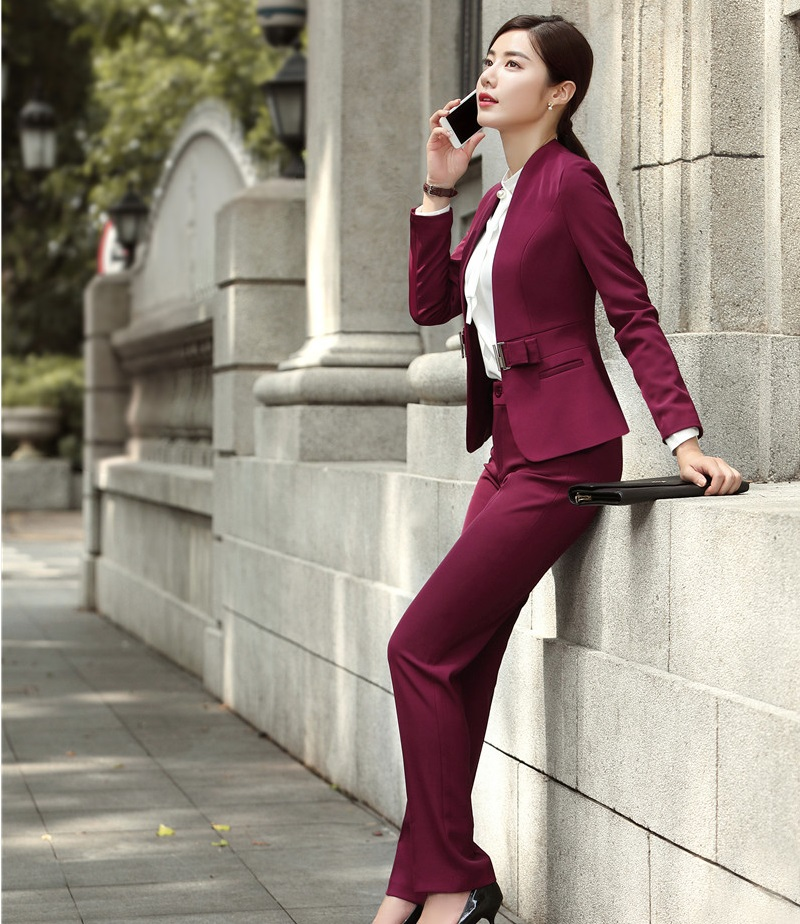 Fashion Wine Formal Uniforms Designs Professional Pantsuits With Jackets And Pants For Ladies Office Work Wear Blazers Sets 21