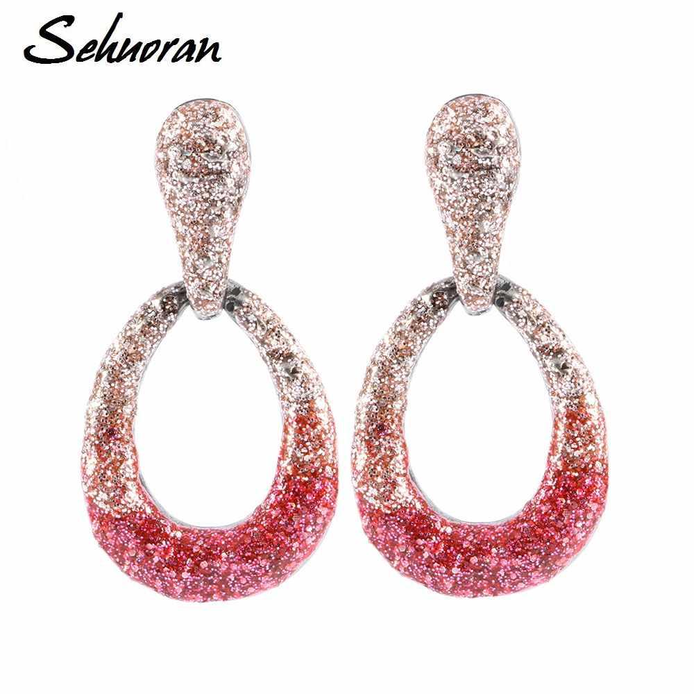 Sehuoran New Luxury Stud Earrings Đối Với Phụ Nữ Tuyên Bố Jewelry Gorgeous Bohemia Big, Pendant Vintage Bông Tai Brincos Pendientes