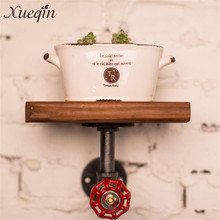 Bathroom Shelves Loft American Country Style Wrought Iron Wall Shelf Shelves Retro Industrial Pipes Simple Fashion Display-z30 Easy To Use