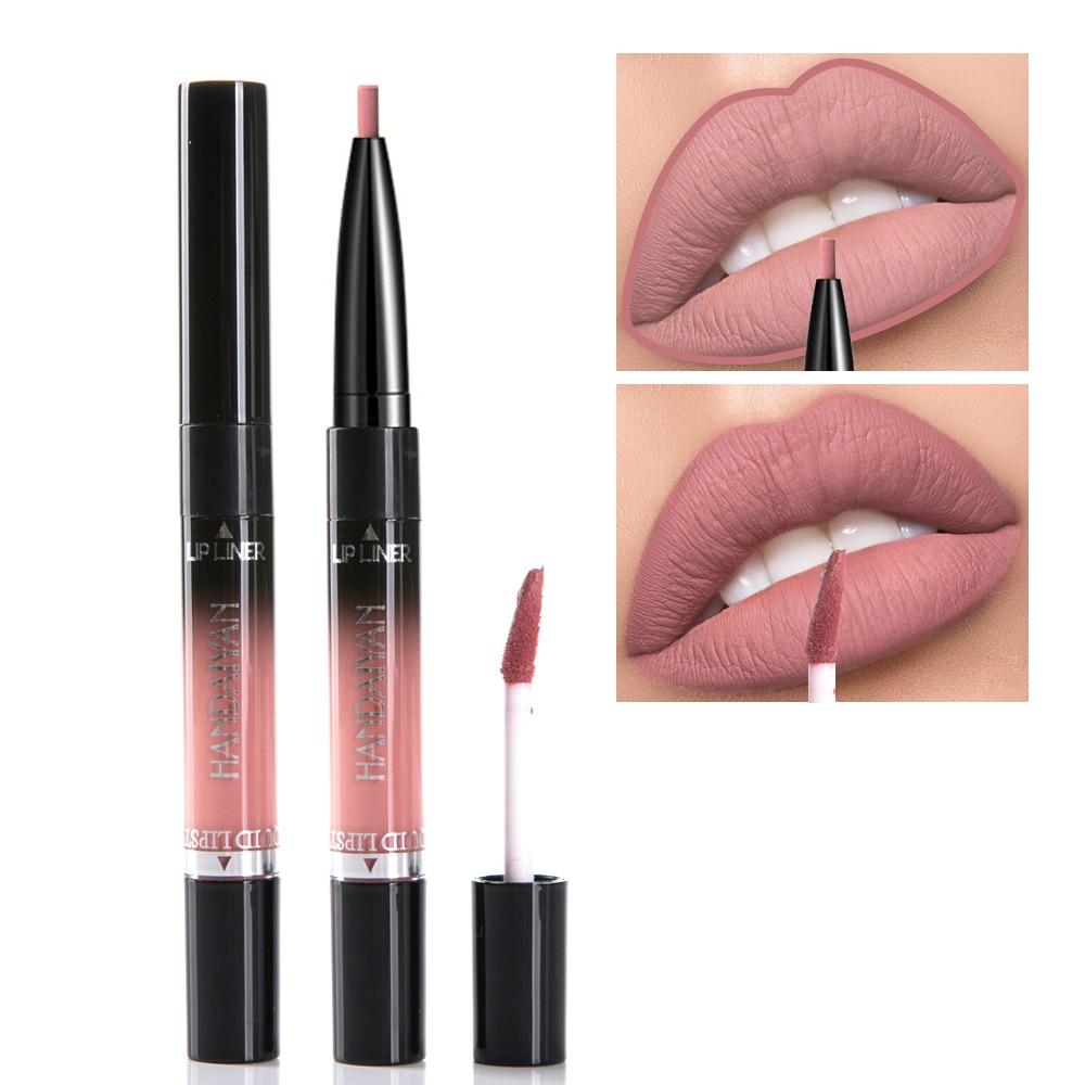 Handaiyan Liquid Lipstick Pink Purple Red Lipgloss Long-lasting Waterproof Nude Mate Lip Liner Pencil Double-end Matte Lipsticks 6
