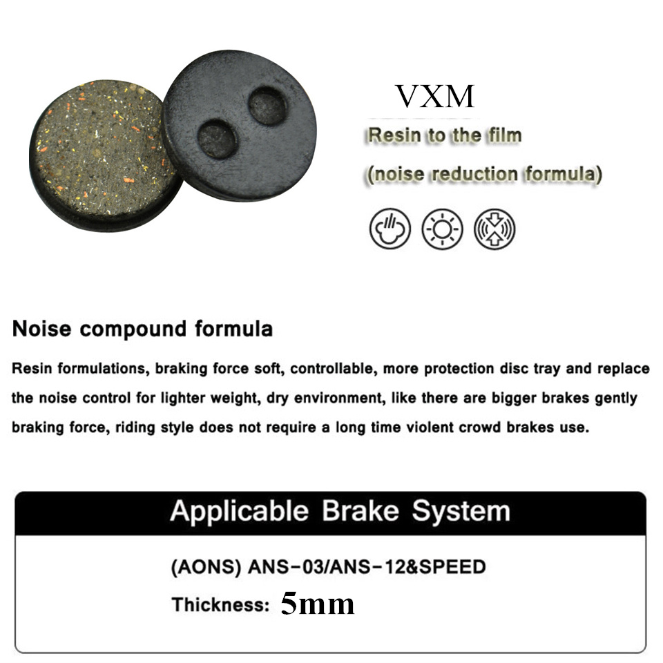 VXM 2 Pair Bicycle disc brake pads for AONS-03/ANS-12SPEED Clarks CMD-5/CMD-7 Mechanical Voxa MD35 SH840 Passing TUV AOV TEST