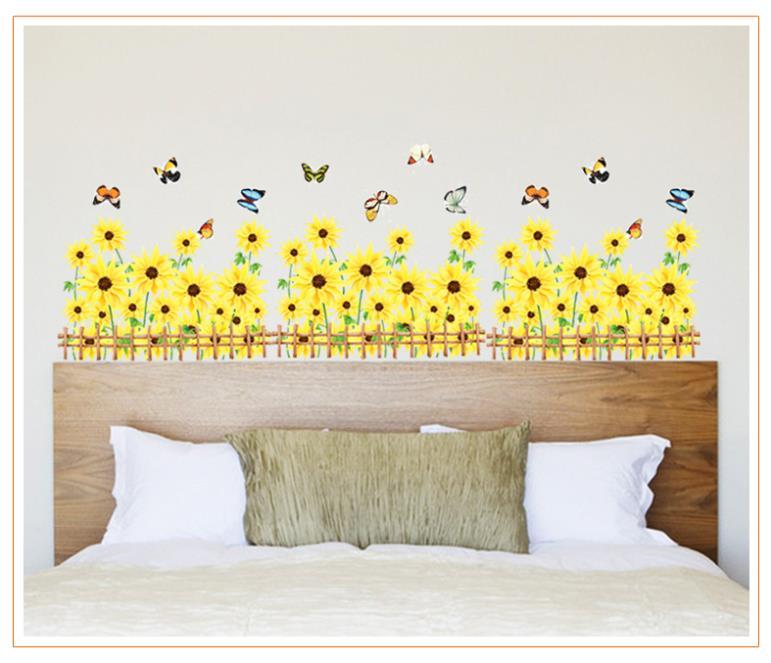 Wholesale Pcs Beautiful Yellow Sun Flowers Wall Sticker Butterfly - Yellow flower wall decals