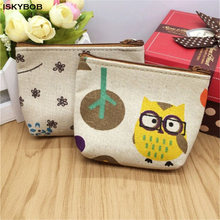 NEW Women's Coin Key Holder Pencil Case Small Retro Canvas Purse Mini Bag Zip Wallet Pencil Bag(China)