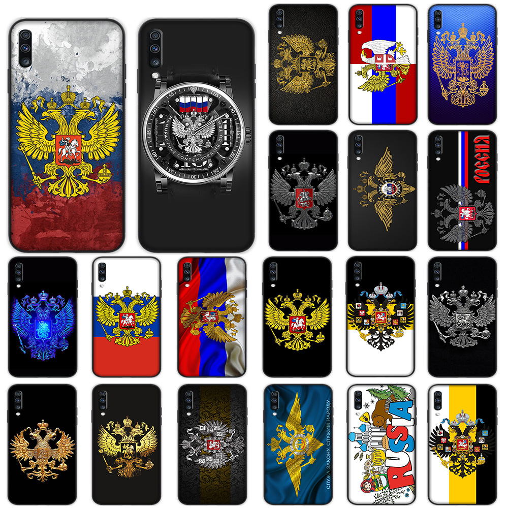 Russian Coat of Arms <font><b>Flag</b></font> Soft Case for <font><b>Samsung</b></font> Galaxy A5 A6 A7 A8 A9 Plus <font><b>A10</b></font> A20 A30 A40 A50 A60 A70 M40 Cover image