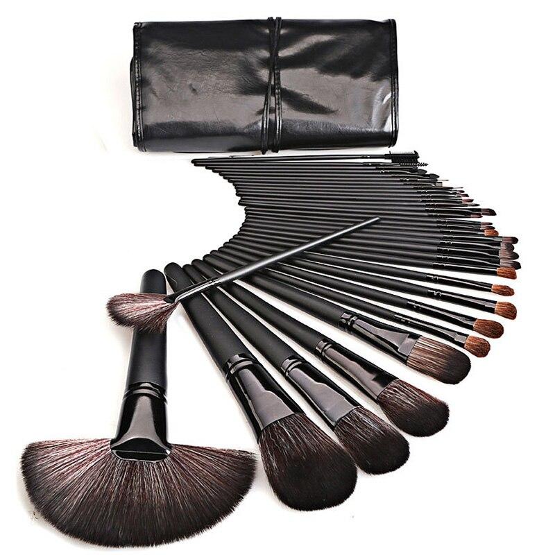 Набор кисточек для макияжа из искусственной кожи, 32 шт. Аппликатор теней для век      АлиЭкспресс