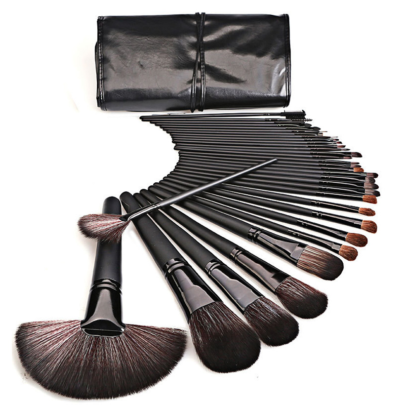 32pcs Professional Black Wood Handle Horse Hair Premium Full Function Portable Beauty Make Up Brushes Set With PU Cosmetic Bag