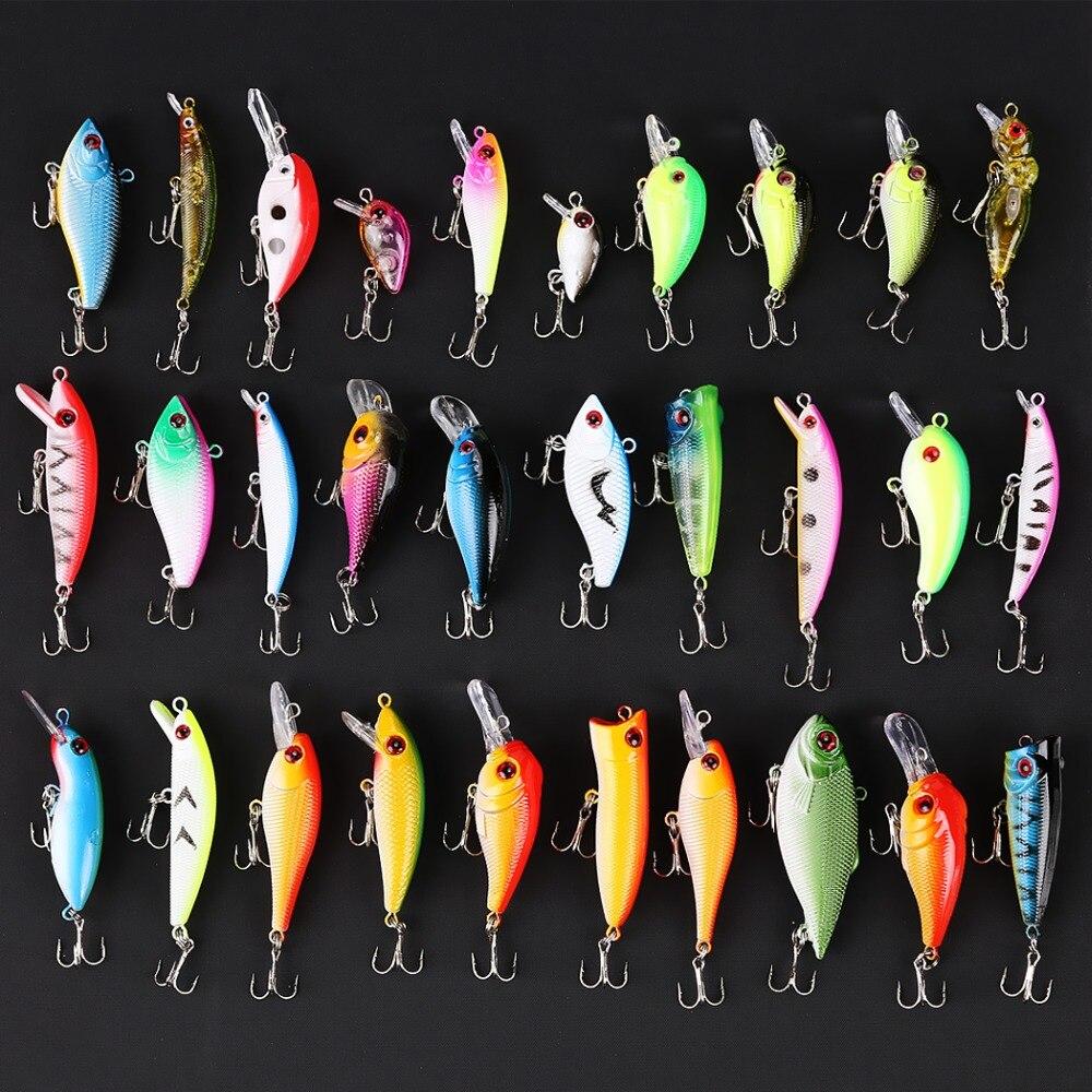 30pcs/Lot Mixed Hard Fishing <font><b>Lures</b></font> Crankbaits with Hooks Minnow Baits Tackle Colorful Fake Fishing <font><b>Lures</b></font>
