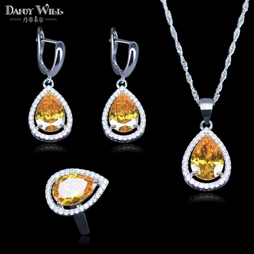 Costume Jewelry-Sets Zircon Earrings/rings Silver-Color White Yellow Women for 925-Logo