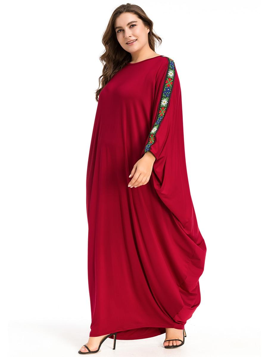 Red bat sleeve muslim dress loose arabic dubai abaya dress islamic prayer clothing muslim ramadan woman islamic dress