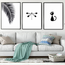 TAAWAA Leaves Dragonfly Cat Canvas Poster Black and White Minimalist Art Painting Wall Picture Modern Home Decoration