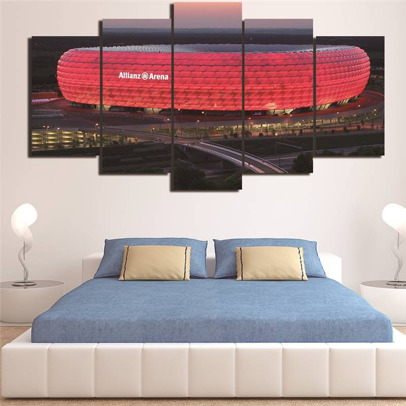 5 Pieces Bayern Munich Allianz Arena Group Hd Printed Painting Canvas Oil Painting Sports Customized Wall Art Decor Living Room