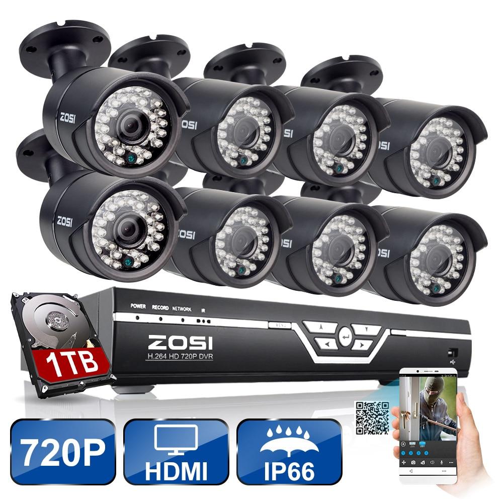 ZOSI 8CH CCTV System 8CH AHD CCTV DVR 1TB HDD 8PCS 1.0 MP Security Camera 36PCS IR Leds CCTV Camera Surveillance System
