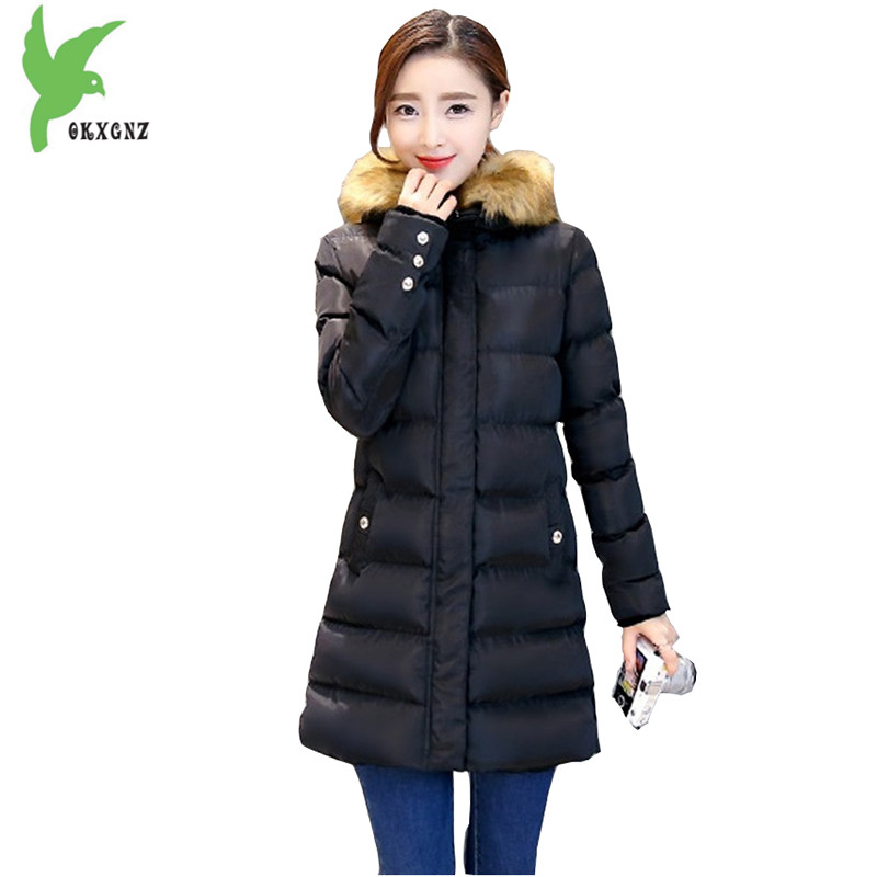 New Fashion Women Winter Down Cotton Jackets Plus Size Solid Color Hooded Fur Collar Casual Coat Fat MM Slim Outerwear OKXGNZ973 new winter women cotton jackets solid color hooded long coat plus size fur collar thicker warm slim casual outerwear okxgnz a795