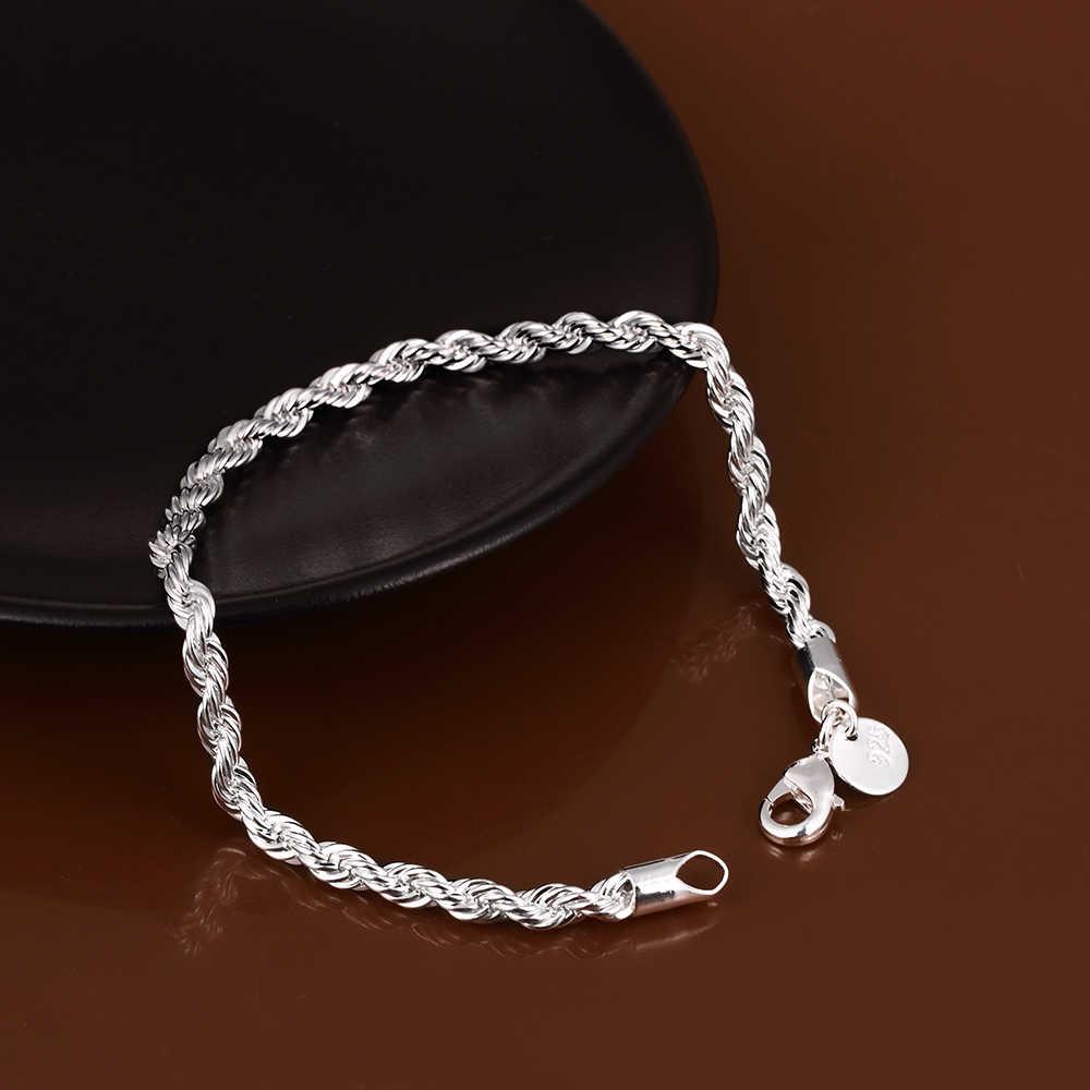 جديد الفضة مجوهرات مطلية للنساء والرجال موضة الفضة مطلي سلسلة سحر فلاش حبل مجدول أو مبروم سوار مجوهرات سوار H207