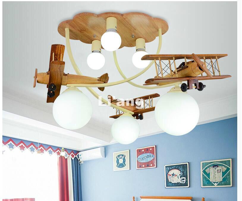 Art Decora LED Enfants Lumières Enfants Plafond Lampe En Bois Avion Conception Decora Chambre Lumière E27 110 V 220 V À Distance contrôleur