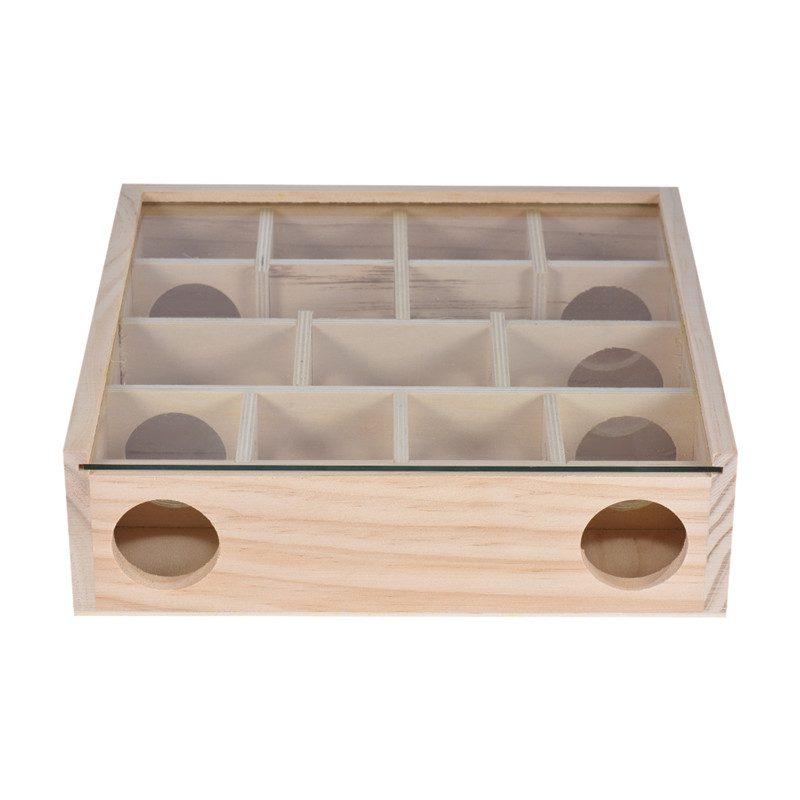 Natural Wood Maze Tunnel Pet Chewing Toy Small Animal Playground With Glass Cover For Hamster Rat Mouse Chinchilla Gerbil m