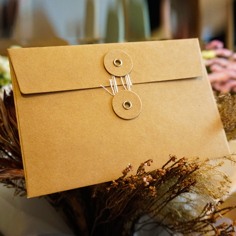 50pieces/set Of Vintage Buckled Kraft Paper Blank Paper Window Envelope Wedding Invitation Envelope/gift Envelope/thick Postcard