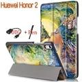 Новая Красочная Картина Стенд Смарт PU Кожаный Чехол для Huawei Honor 2 8.0 дюймов Tablet Чехол С Магнитом + OTG + Стилус